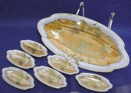 Luster Ware Relish Set Hand Painted Art Nouveau Six Servings