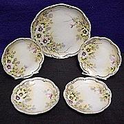 Cake Set Nippon Porcelain Certified Mark Service for 4