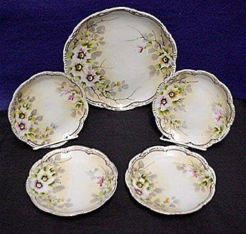 Cake Set Nippon Porcelain Certified Mark Service for 4