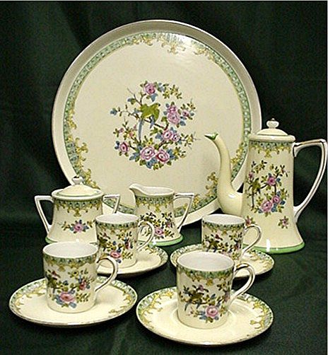 Noritake Porcelain Certified Mark Demitasse Set  Complete with Tray
