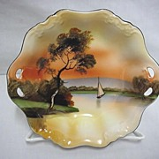 Large Noritake Serving Bowl Hand Painted Scenic with Sailboat