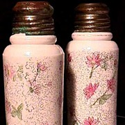 Salt and Pepper Shakers American Glass Hand Painted Set