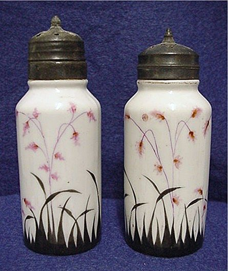 Salt and Pepper Set Antique American Glass Hand Painted Shakers