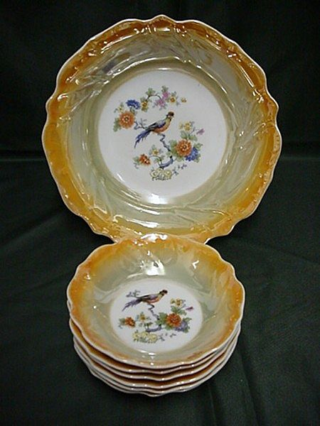 Berry Set Bavarian Luster Bowl and Six Servings  ***Selling at Cost