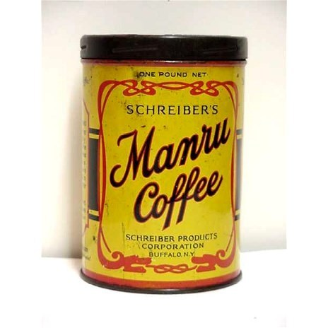 Manru Advertising Coffee  Tin Buffalo New York