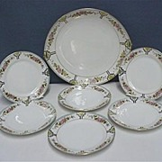 Nippon Porcelain Cake Set Master Plate and Six Servings One Of Many