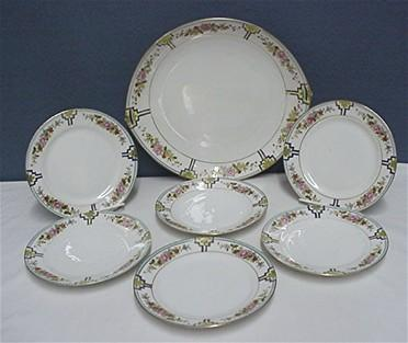 Nippon Porcelain Certified Mark Cake Set Master Plate and Six Servings