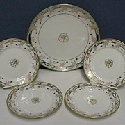 Cake Set Nippon Porcelain Certified Mark Master Plate and Four Servings