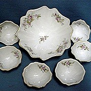 Porcelain Nut Set Service for 6 Master Bowl and 6 Nutters