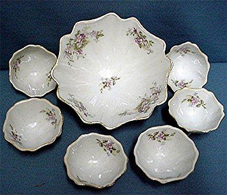 Porcelain Nut Set Service for 6 Master Bowl and 6 Nutters