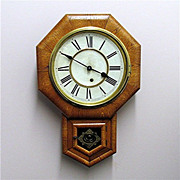 Antique American Wall Clock Made By The Ansonia Clock Company