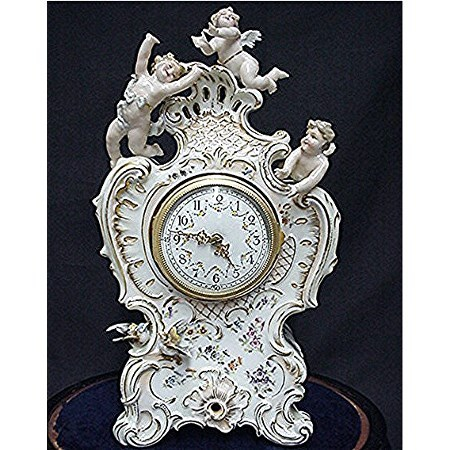 Antique Porcelain Clock with Original Glass Dome and Wood Base