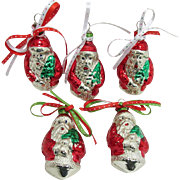 Christmas Ornaments  Five Santa Claus  Hand Painted Czech Glass