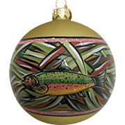 Christmas Ornament TROUT Hand Paint on Glass Ball