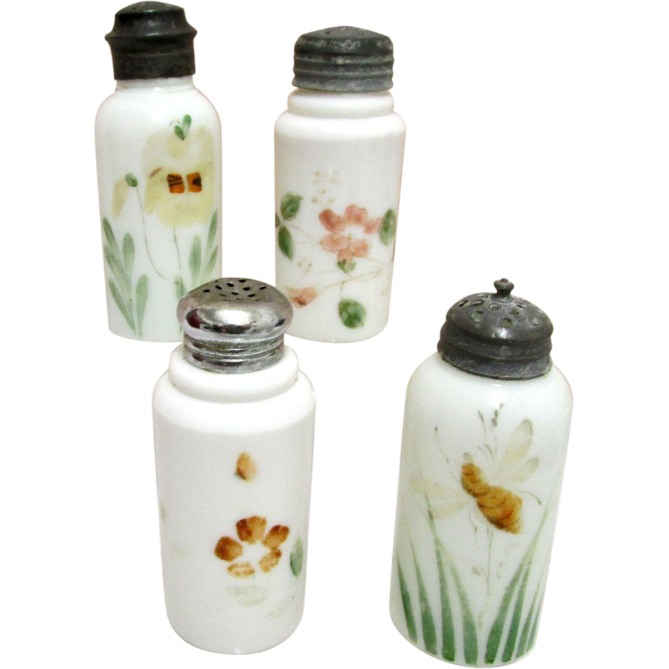 Shakers Four American Opalware Glass Circa 1890