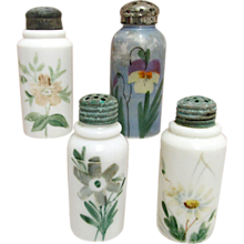 Four Shakers Hand Painted American Glass