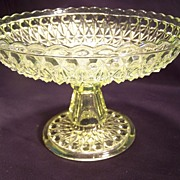 Vaseline Cut Glass  Compote