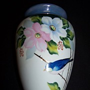 Handpainted Bluebird Wallpocket--Japan