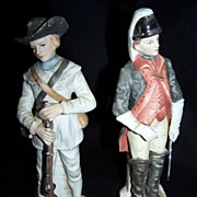 Revolutionary War Colonial Soldier Bisque figurines-Virginia Light Dragoons & Rifleman