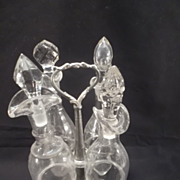 Pewter Castor/Cruet Stand with 4 etched & clear glass bottles