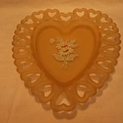 Westmoreland Floral Decorated Pink Satin Glass Heart Dish