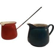 Two Vintage Blue & Red Enamelware Pitchers