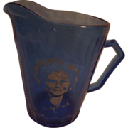 Shirley Temple Vintage Blue Atlas Glass Cream Pitcher-Honeycomb Pattern-1930's era