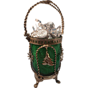 Vintage Green Glass Candy Jar with Silver Plated Holder & Handle