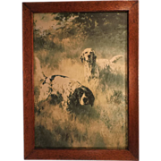 A Covey Find, Vintage Fine Art  Framed Hunting Dog Print, Percival Leonard Rosseau, Artist