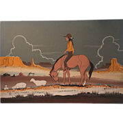 Native American Navajo Watercolor Indian Dream Painting - Lone Navajo Shepard