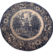 Staffordshire Ironstone Liberty Blue Transferware Plate--Independence Hall