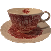 "Taylor Smith and Taylor ""Pink Castle"" Red and White Transferware Cup & Saucer"