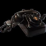 Vintage Leich Desk Telephone:  Black Bakelite Hand Crank Rotary 901B