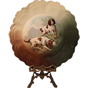 Vintage Hand Painted Plate - Hunting Dogs - Bavaria