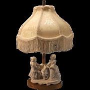 Porcelain German  Figural Boudoir Lamp--Beautiful Fringed shade