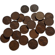 One Half Roll of Lincoln Wheat Pennies with 2 Indian Head Pennies