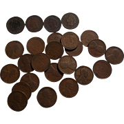One Half Roll of 1926 Lincoln Wheat Pennies with 4 Indian Head Pennies
