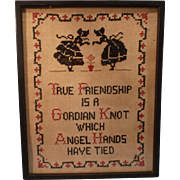 Vintage Gordian Knot Sampler; Framed under glass