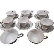 Lefton China Set, 6 Cups & Saucers plus 2 spares