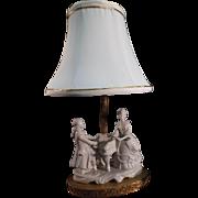 Porcelain German Figural Boudoir Lamp - Victorian Couple