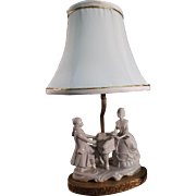 Porcelain German Figural Boudoir Lamp - Victorian Couple