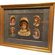 Framed Picture of 5 Die Cut portraits of young Victorian Girls