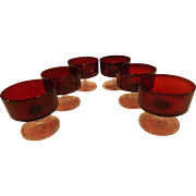 Vintage Set of 6 Luminac Arcoroc Ruby Glass Dessert/sherbert Compotes
