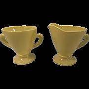Vintage Hazel Atlas Moderntone Yellow Cream And Sugar