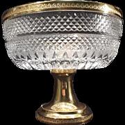 Large  Pedestal CRYSTAL COMPOTE BOWL – Gold Plated Pedestal & Rim