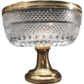 Large  Pedestal CRYSTAL COMPOTE BOWL – Gold Plated Pedestal & Rim