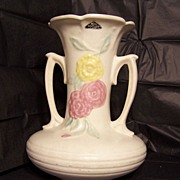 Hull Pottery-Open Rose pattern Vase circa 1940's