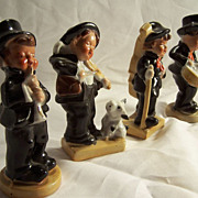 Jazz Band Figurines--Musical-Fiddle-Drum-Clarinet-Bass; 4 pc. Ceramic