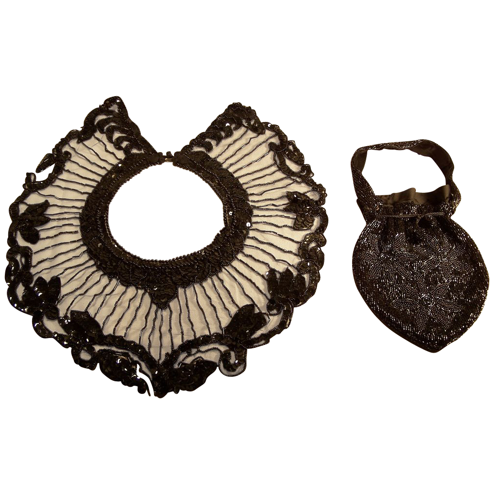 Black Jett Beaded Evening Collar and Beaded Purse