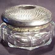 Heisey Glass & Silver Dresser Hair Receiver